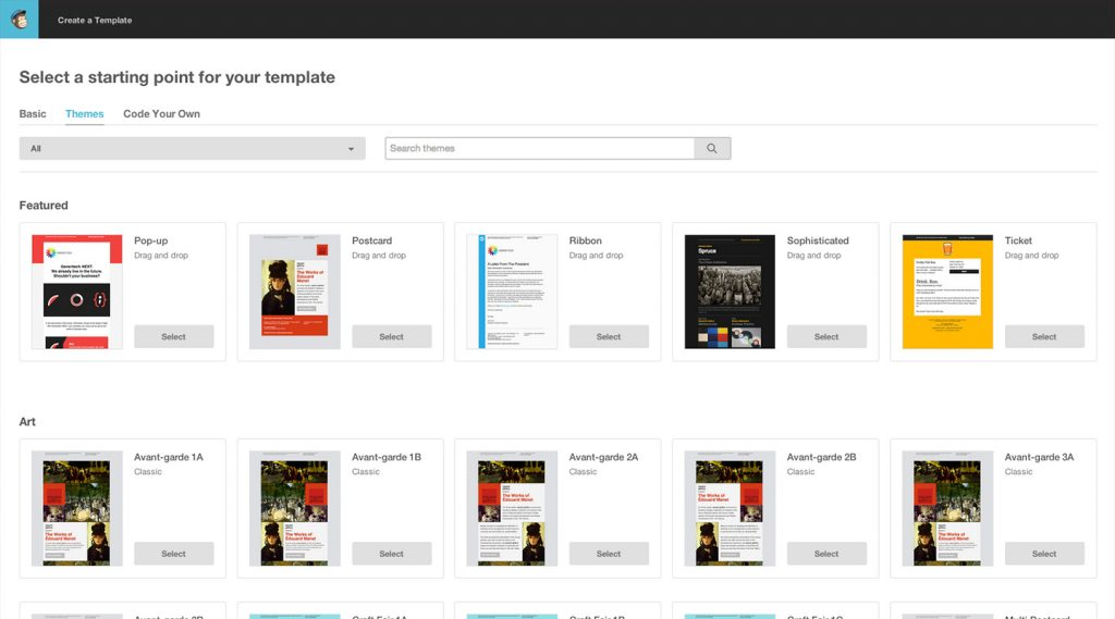 Szablony newsletterów MailChimp